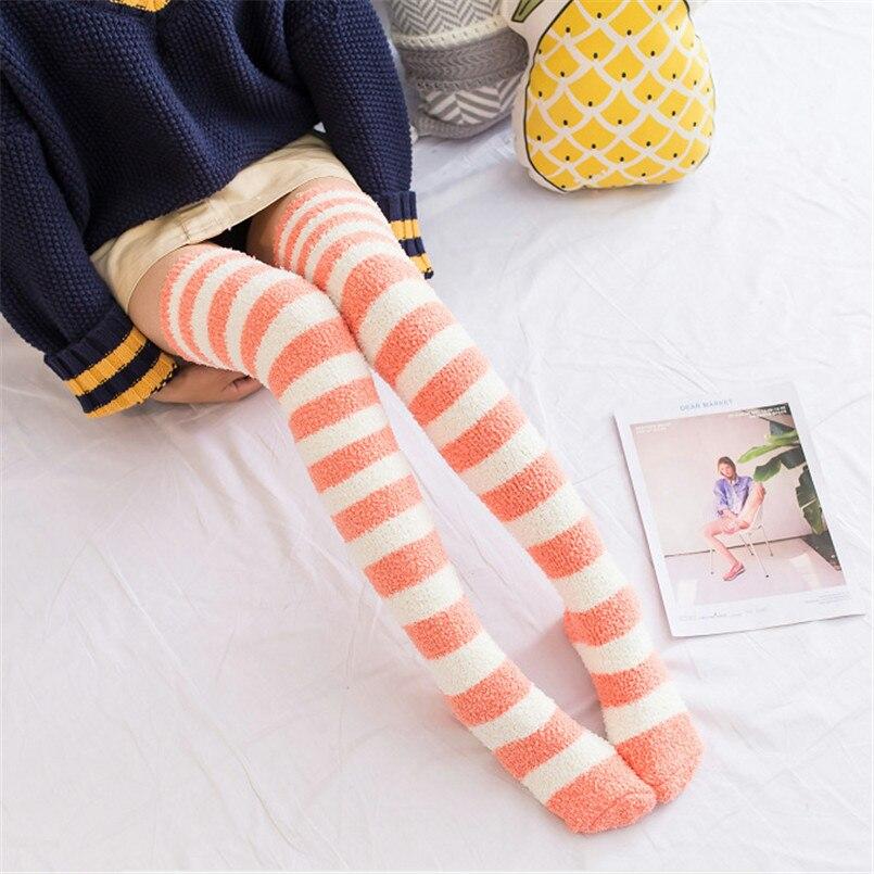 Very Soft Warm Ice Cream Ladies Over Knee Socks Long Autumn Winter Socks Sexy Thigh High Stockings Plus Size Medias De Mujer in Stockings from Underwear Sleepwears