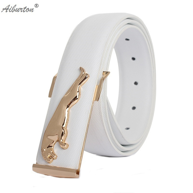 f80042c3cd9a De luxe en cuir ceinture homme blanc ceintures designer ceintures hommes  haute qualité Jaguar grand boucle
