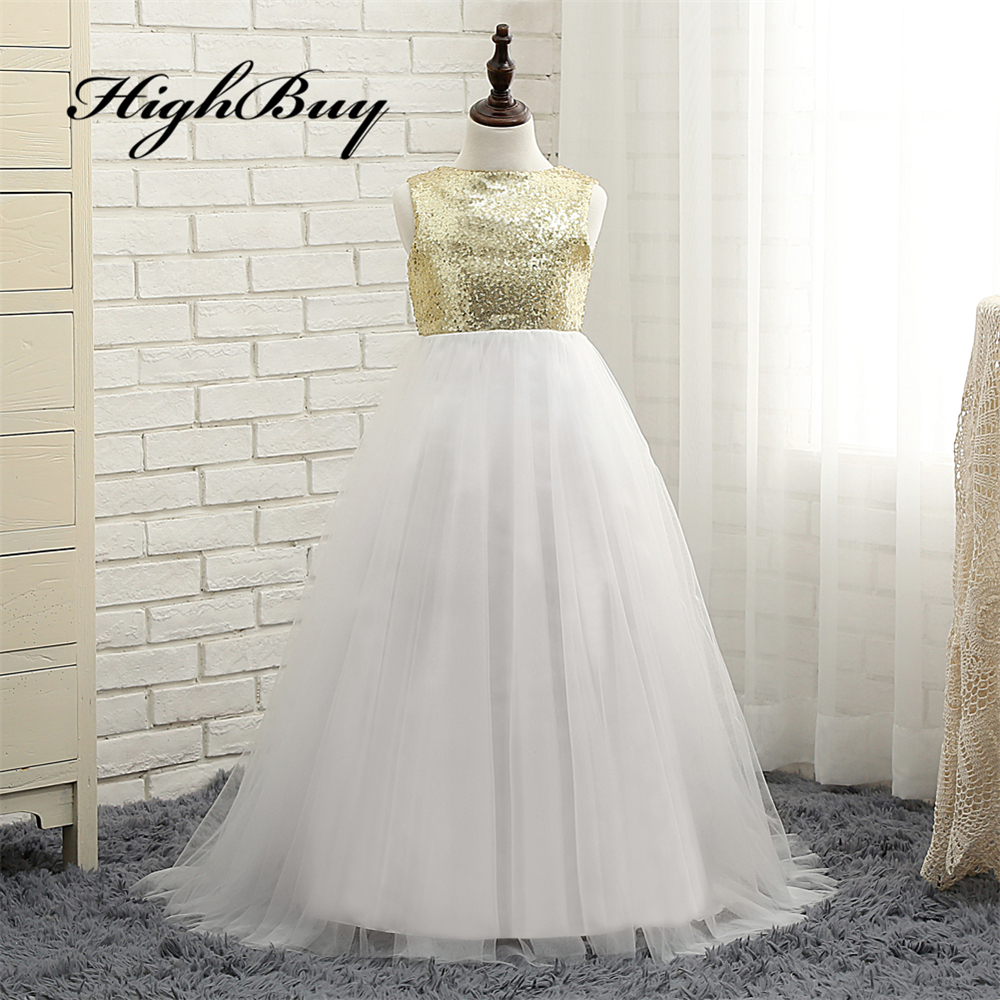 Compare prices on gold junior bridesmaid dresses online shopping highbuy gold sequins white ivory flower girl dress toddler baby girl dress junior bridesmaid dress girls ombrellifo Gallery