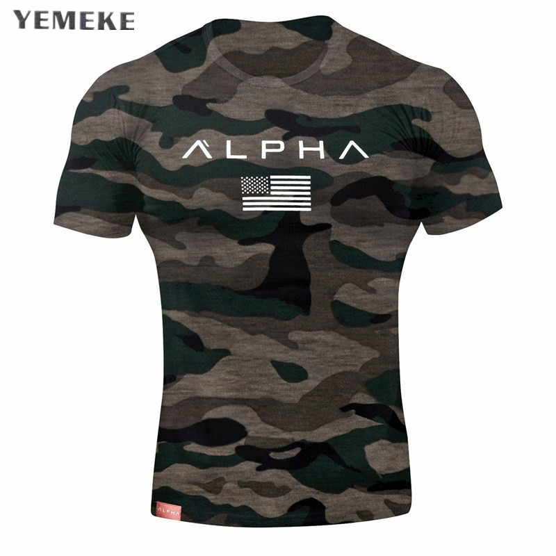 Summer Fashion Men's T Shirt Casual camouflag Short Sleeve T Shirt Mens Clothing Trend Casual Slim Fit Fitness Top Tees XXL 2018