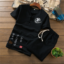 Loldeal Chinese Summer Cotton Linen Embroidered Breathable Set Mens Short Sleeve T-Shirt + Shorts