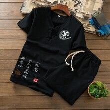 Loldeal Cinese del Cotone di Estate di Lino Ricamato Traspirante Set di Tela degli uomini di T-Shirt Manica Corta   Shorts