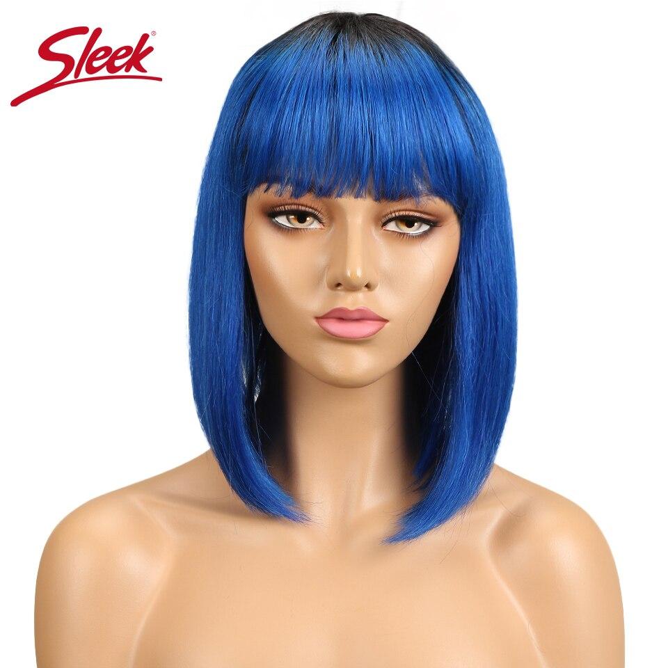 Sleek Blue Straight Human Hair Wigs With Bangs Brazilian Remy Hair Human Hair Wig Perruque Cheveux Humain Cheap Free Shipping