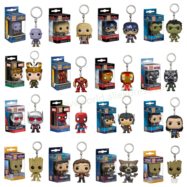 FUNKO POP Personagens de Bolso Keychain Pop Oficial The Avengers Marvel Super Hero Action Figure Collectible Modelo Brinquedos de Natal