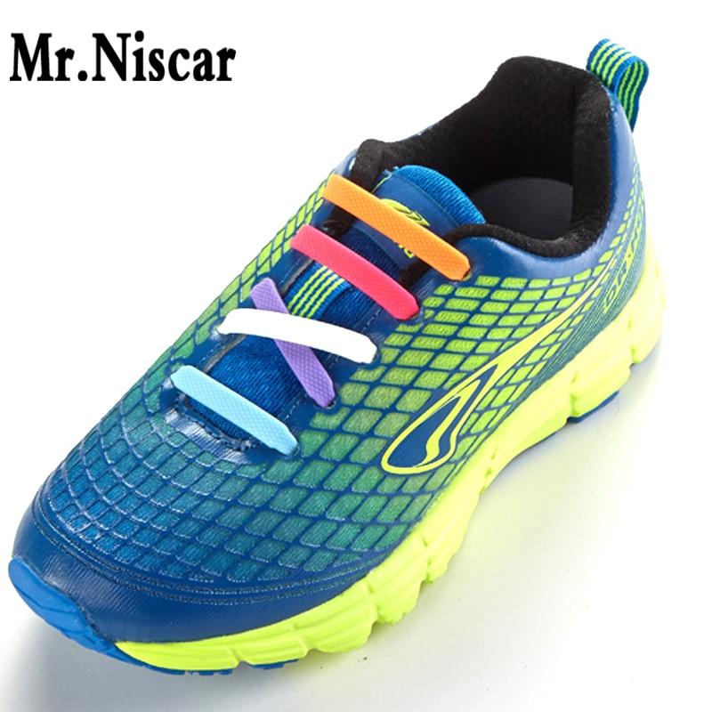 Mr.Niscar 1Set / 16Pcs Täiskasvanud Athletic Running No Tie Shoelaces Elastsed silikoonist jalatsid meestele Naised Kõik jalatsid sobivad rihma