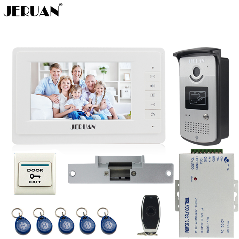 JERUAN Home Wired 7 inch TFT color video door phone intercom system 700TVL RFID Access IR Night Vision COMS Camera Cathode lock