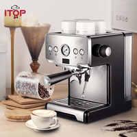 Cafetera italiana semiautomática ITOP 15 Bar, cafetera de leche para capuchino con burbujas, cafetera Espresso americana para el hogar