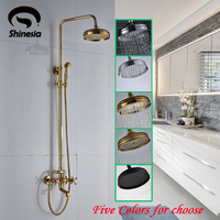 Solid Brass Bathroom Shower Faucet Double Handle Swivel Spout Tub Mixer Tap With Hand Shower Wall