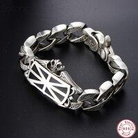 Новый 100% Настоящее серебро 925 пробы браслет для Для мужчин Loom Bands серебро S925 jewelry шпрингельный замок большой браслет брендовый