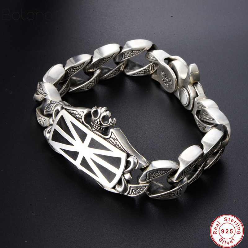 New 100% Real 925 Sterling Silver Bracelet Bangle for Men Loom Bands Silver S925 jewelry spring clasp Big Brand Charm Bracelet  New 100% Real 925 Sterling Silver Bracelet Bangle for Men Loom Bands Silver S925 jewelry spring clasp Big Brand Charm Bracelet