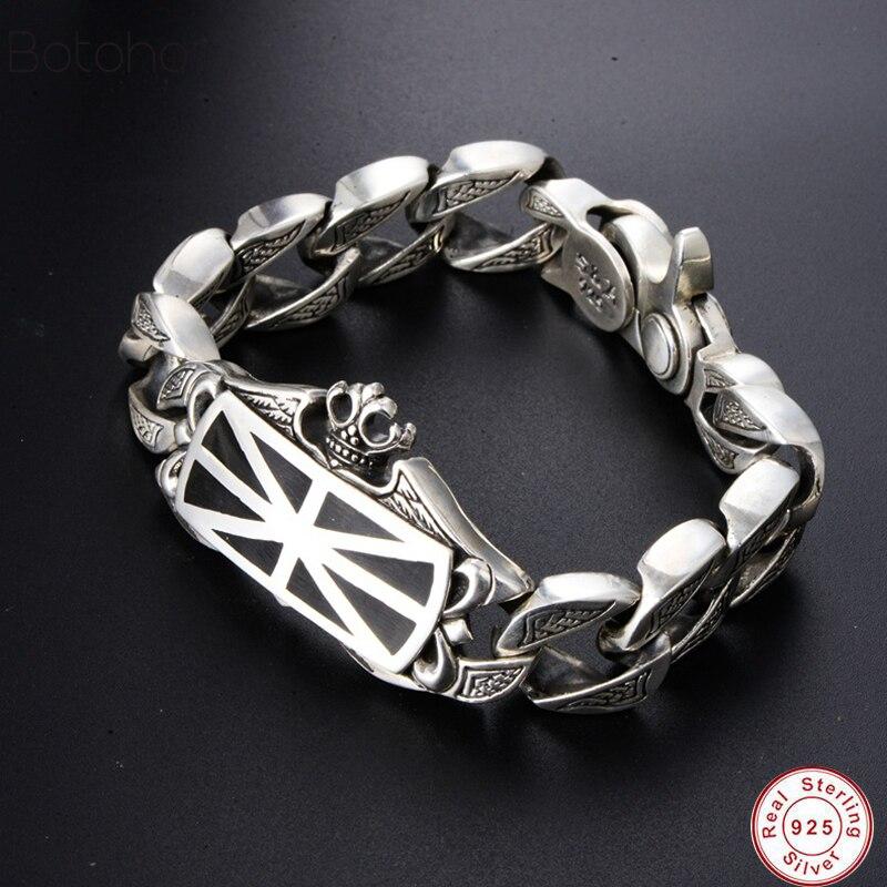 Nouveau 100% réel 925 Bracelet en argent Sterling Bracelet pour hommes métier à tisser des bandes en argent S925 bijoux fermoir à ressort grande marque Bracelet à breloques