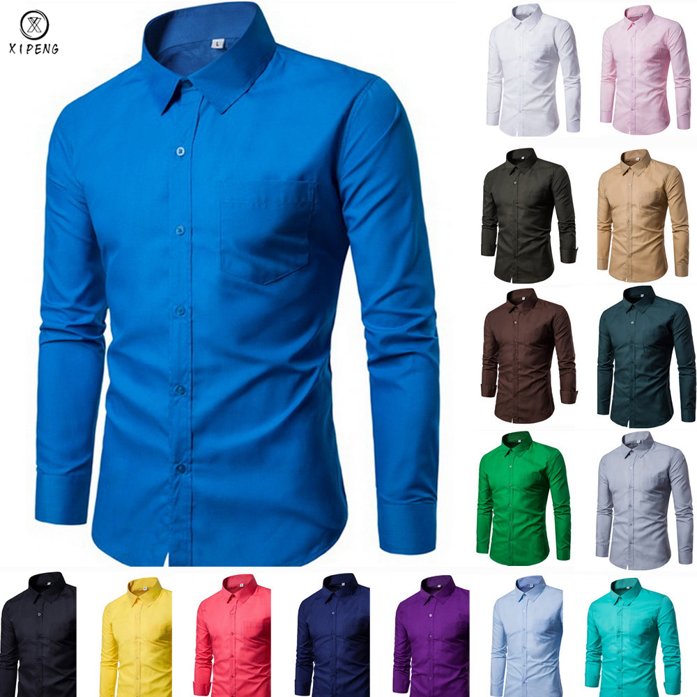 2019 New Men Dress Shirt Long Sleeve Slim Brand Man Shirts Designer High Quality Solid Male Clothing Fit Business Shirts 4XL