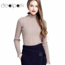 fb75d1c65324d 2018 Autumn Ribbed Knitted Pullover Sweaters Women Turtle Neck Sweater  Scalloped Solid Slim Stretchy Jumpers Knitting