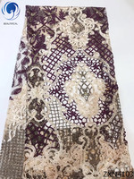 BEAUTIFICAL african fabric lace purple beaded lace fabric embroidery lace fabric with guipure laces flowers styles 5yards ZXN41