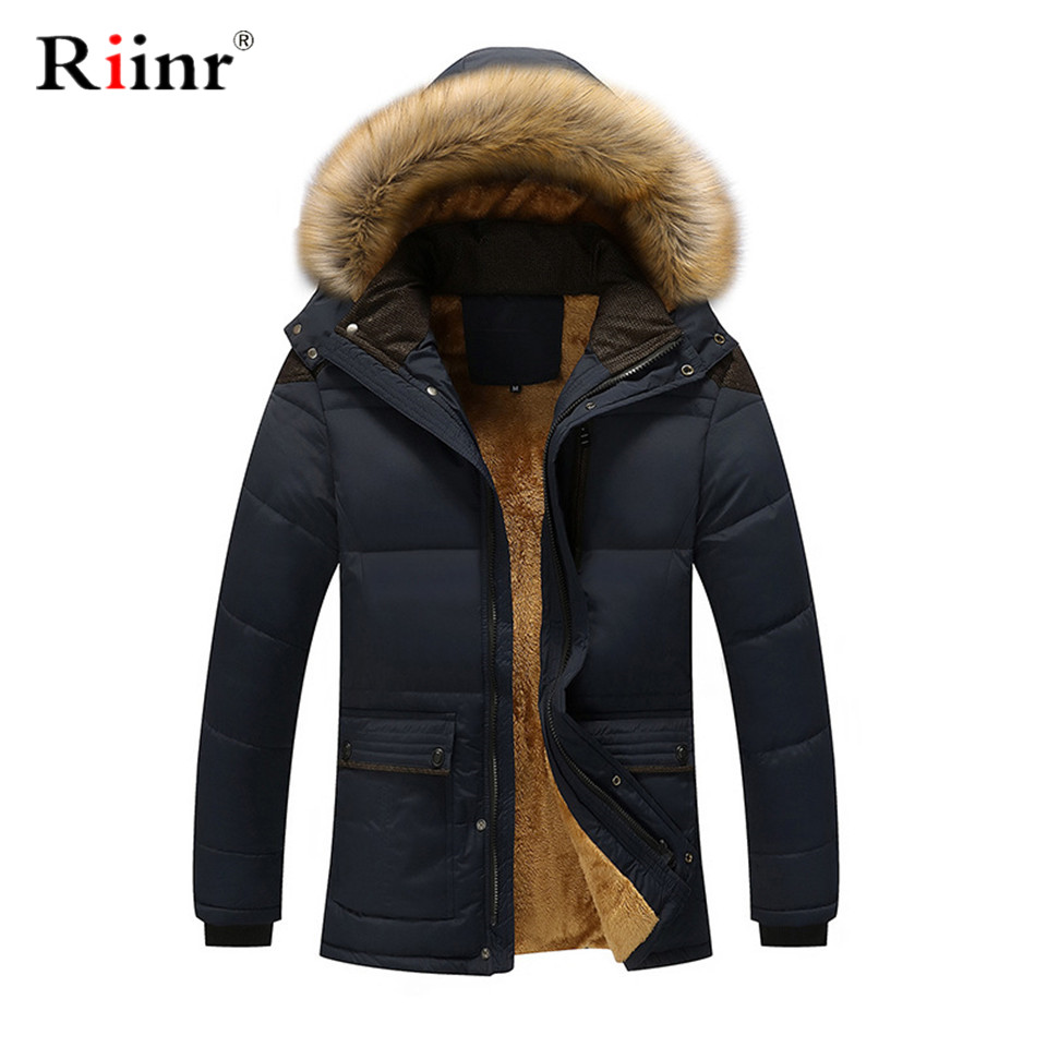 Riinr Winter Parkas Men Brand Clothing Fashion Casual Slim Thick Warm Mens Coats Parkas With Hooded Long Overcoats Male Clothes