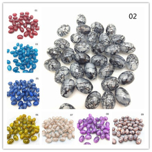 New 4x6/ 6x8 8x11mm Oval Rugby Glass Beads Pattern Spacer Loose Jewelry Making Wholesale