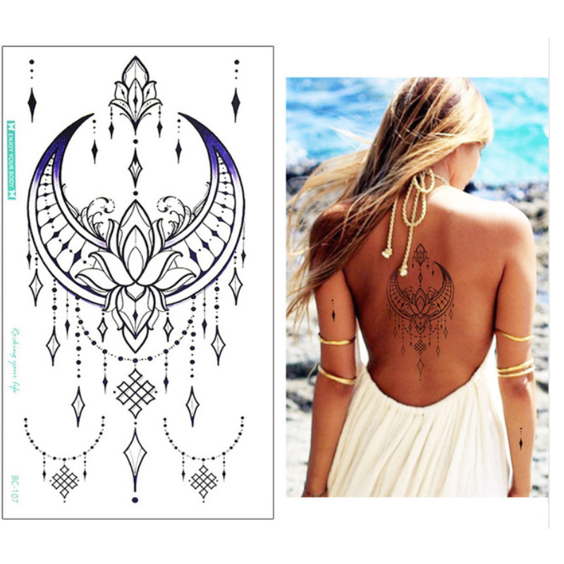 New 13.8*24cm Sternum Chest Temporary Tattoo Big Body/back Art Sticker Jewelry Choker Flower Tattoo Fashion Flash Tattoo Girls