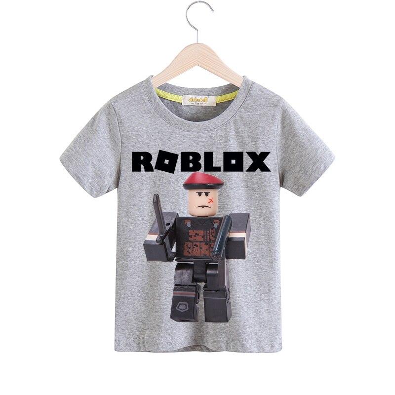 b4d3a87a64615 Детские игры Roblox футболки для мальчиков Летняя короткая футболка одежда  для девочек Повседневное белая футболка для