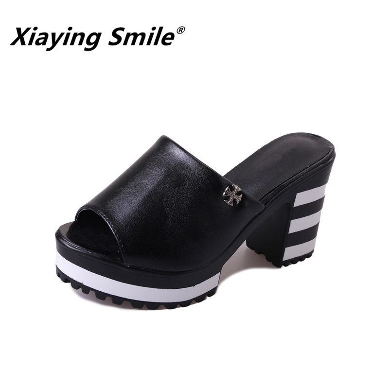 Xiaying Smile Summer Female Fashion Wedges Sandals Super High Casual Slip On Rubber Shoes Soft Platform Women Open Toe Sandals xiaying smile new summer woman sandals shoes women pumps platform fashion casual square heel buckle strap open toe women shoes