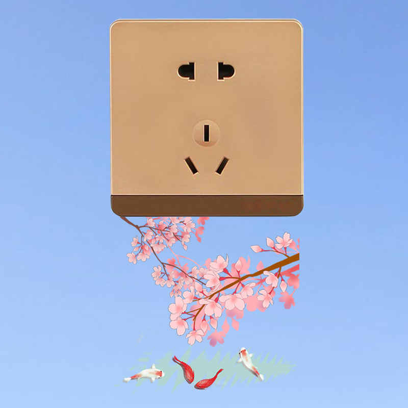 YOJA Frühling Kirschblüte Koi Wand Aufkleber Schalter Aufkleber PVC Wohnzimmer Schlafzimmer Wohnkultur 8SS0618