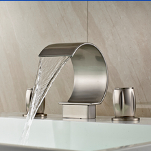 Newly Brushed Nickel 2 Handle 3 Pcs Waterfall Bathroom Basin Sink Faucet Deck Mounted Bathtub Mixer