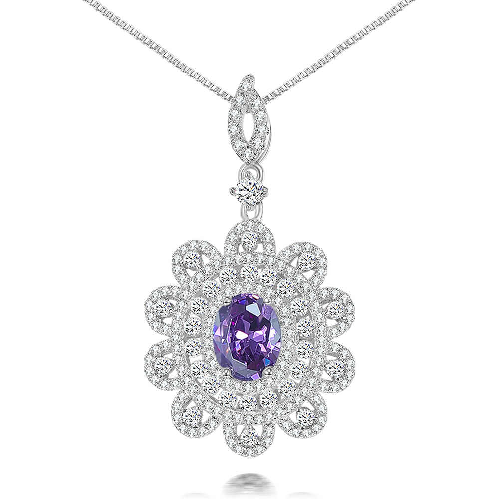 Wong Rain Luxury 925 เงินสเตอร์ลิงสีชมพู Sapphire Emerald อัญมณี Citrine สีขาวทองจี้สร้อยคอเครื่องประดับขายส่ง