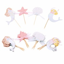 24PCS/Pack Sea Animal Colorful Cupcake Cake Paper Topper With Straw Inserted Card Baby Shower Cake Topper Wedding