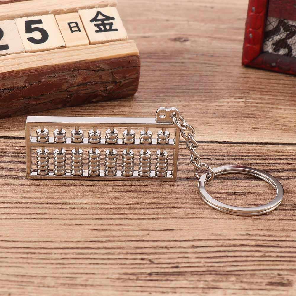 LLavero de Abacus chino de acero inoxidable creativo, llavero, accesorios con colgante de matemáticas, llavero Musical