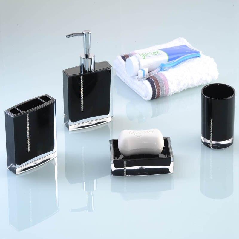 Fashion Diamond Acrylic Bathroom Accessories Set Soap Dish Tumbler Toothbrush Holder Spray Bottle Black Purple