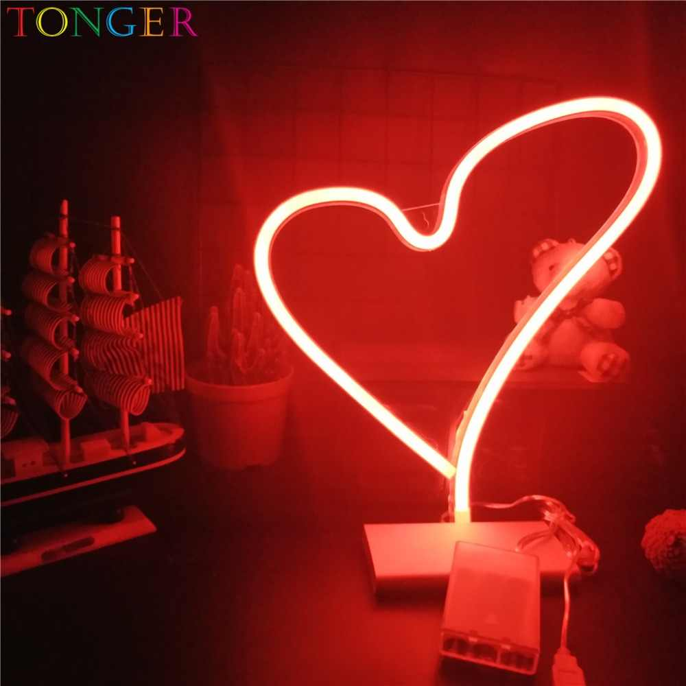 TONGER Romantic Big Heart Led Neon Sign Wedding Room Decorations Home Wall Decor Gifts for Lovers Love Neon Lighting Art Decor
