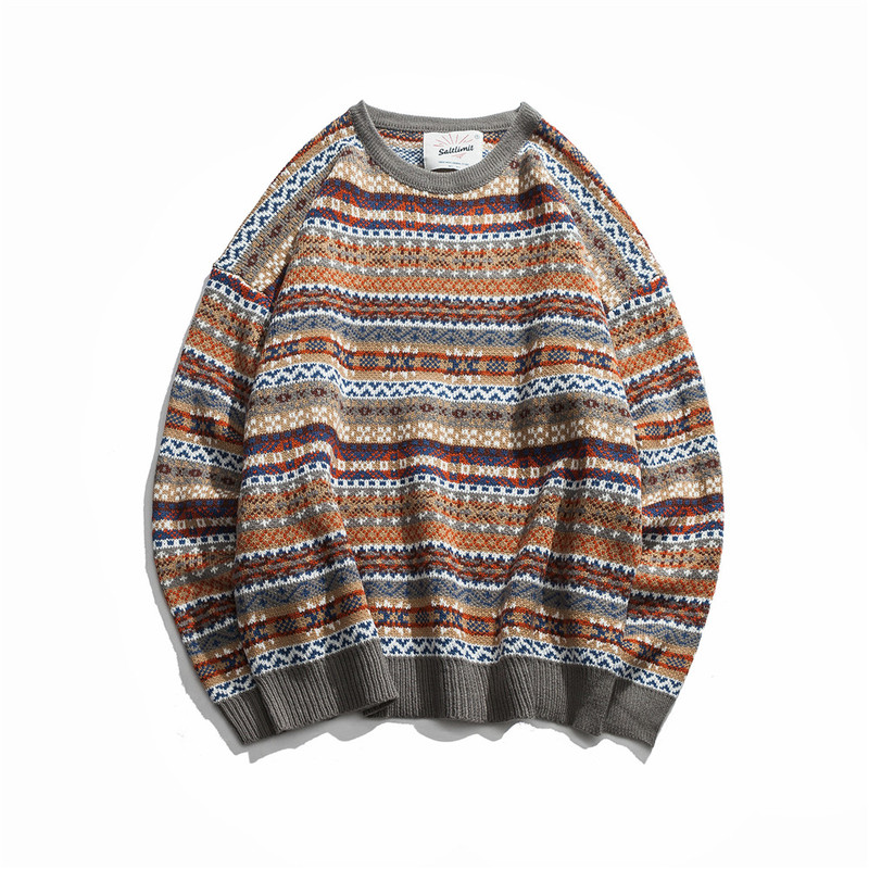 Zogaa Folk-custom Sweaters Men 2019 Autumn Mens Pullovers Round Neck Vintage Sweaters Striped Patchwork Quality Knitted Sweaters