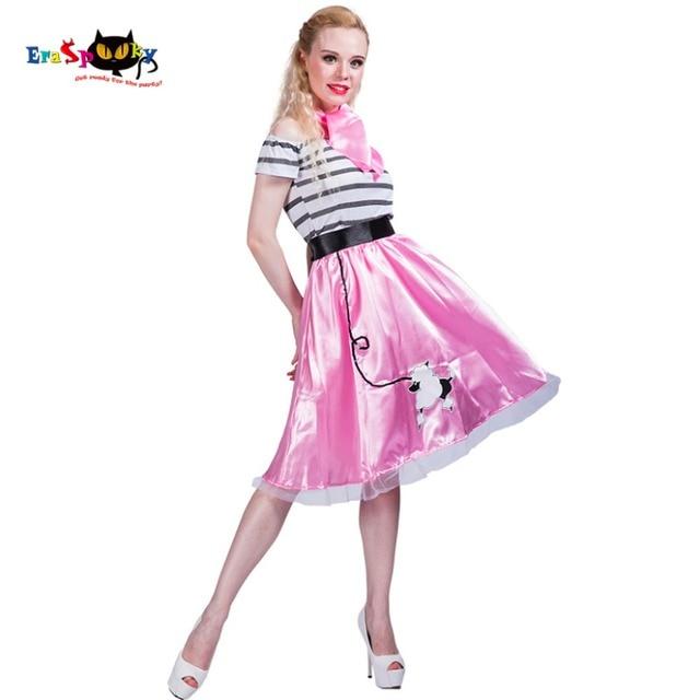 b92deb7ab7a2 80 s Retro Mulheres Sexy Pink Poodle Saia Traje Menina Vestido Listrado  Cosplay Dance Party Dress