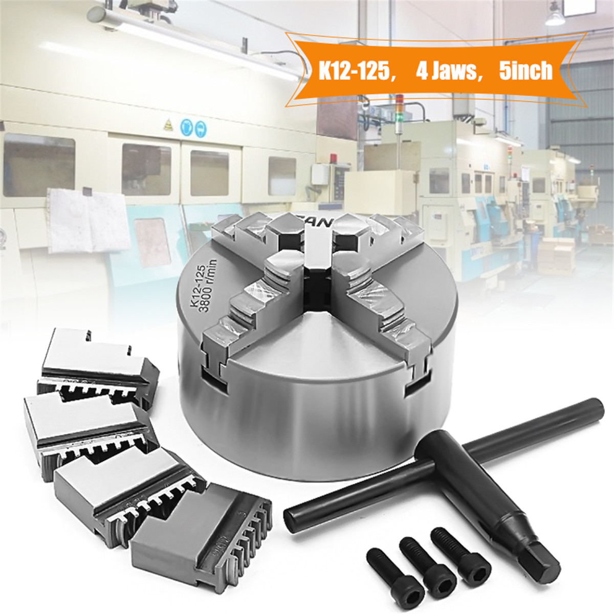 4 Jaw 5'' K12-125 Lathe Chuck Self Centering Hardened Steel CNC Milling 125mm for Drilling Milling Machine 6 jaw 125mm lathe chuck 5 self centering six jaw chuck m8 for cnc milling lathe machine k13 125