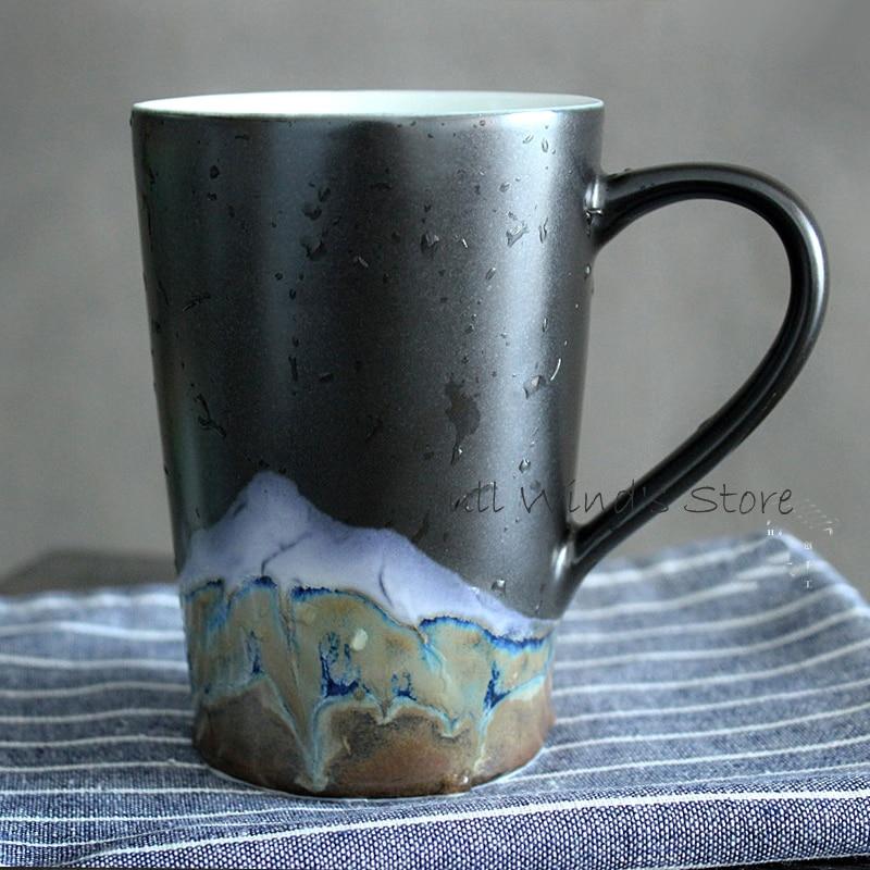 Exquisite art Distant mountain ceramic cup Exquisite handmade mountain view milk mug