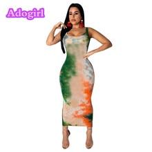 цены Stylish Tie-dyed Print Women Beach Ankle Length Sleeveless Bodycon Maxi Tank Dress Pencil Sexy Long Sundresses Plus Size XXL