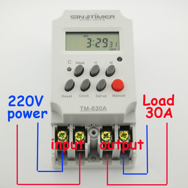30AMP MINI 220V TIMER SWITCH 7 days programmable 24hrs timer relay FREE SHIPPING