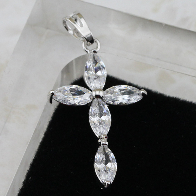 f2e3cf62e48 Gorgeous Stylish Nice Crosses White CZ Gems Pendant Rhodium Plated Jewelry  Gift For Women PB009
