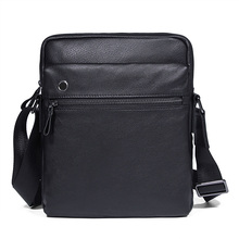 Men High Quality Real Cow Leather Single Shoulder  Sling Bag for Crossbody Travel Business Black Flap Messenger Vintage