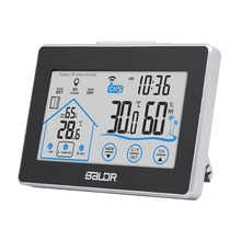 LCD Weather Station Touch Indoor Outdoor Humidity Wall Clock Temperature Sensor Hygrometer Digital Wireless Room Thermometer