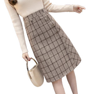 Plaid Skirt A-Line Woolen Winter High-Waist Plus-Size Women Single-Breasted Mujer F221