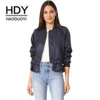HDY Haoduoyi Women Coats Solid Blue Casual Baseball Jackets Ruffles Tops Waist Slim Bomber Jacket 2017