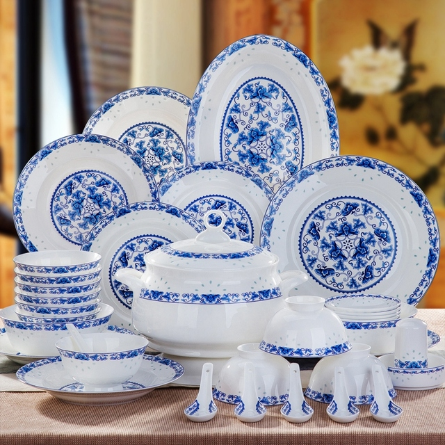 Ordinaire Jingdezhen Bone China Tableware Sets Porcelain Bowl Dishes Set Home Simple  Chinese Ceramic Dinnerware Housewarming Gift