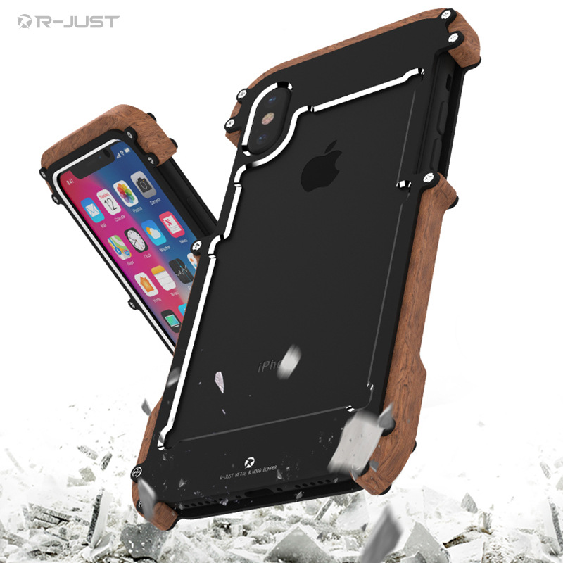 super popular 627a5 310ad For iPhone X Wooden Metal Aluminum Case Original R just Shockproof  Protective Phone Cover for iPhone x-in Phone Pouch from Cellphones & ...
