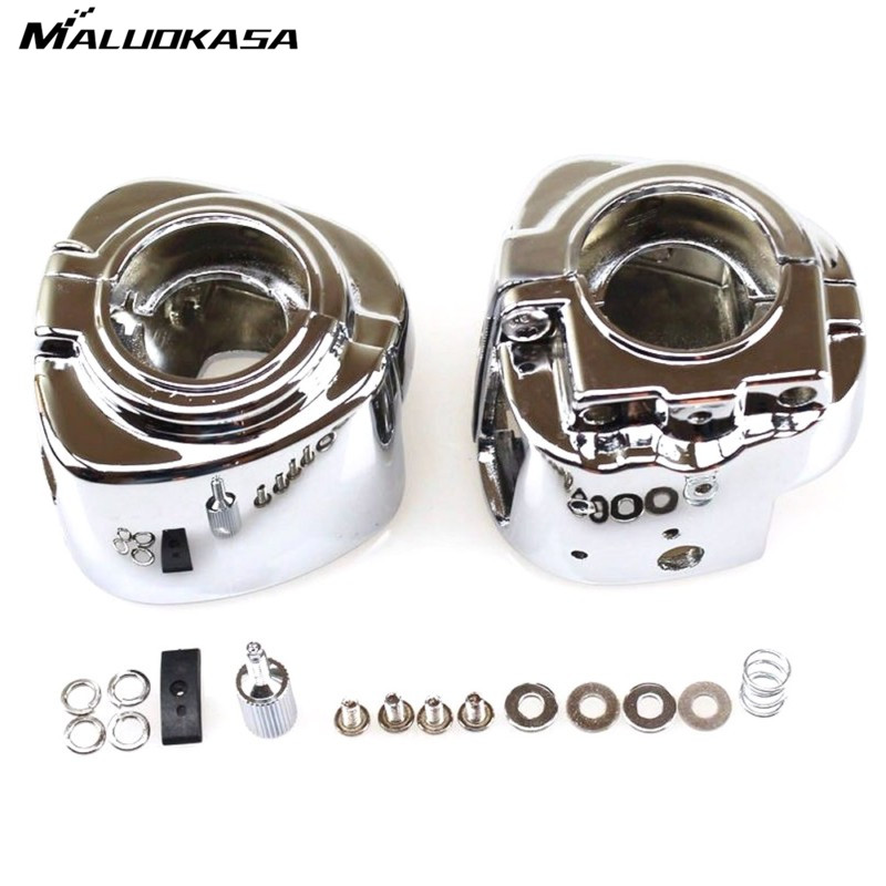 MALUOKASA Motorcycle Chrome Switch Housing Cover For Harley Davidson Dyna Sportsters Softail V-Rod Touring 2009 2010 2011 2012 high quality cnc motorcycle deep cut driver floorboards for harley davidson softail dyna touring chrome