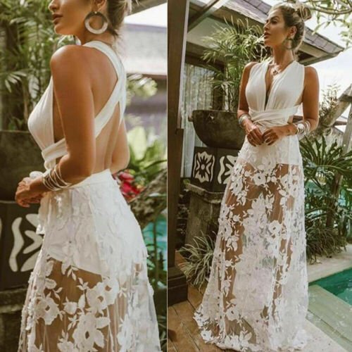 2019 Women Sleeveless Lace Boho Long Dress Woman Sexy V Neck Backless Party Beach Maxi Dresses Female Elegant Bandage Sundress