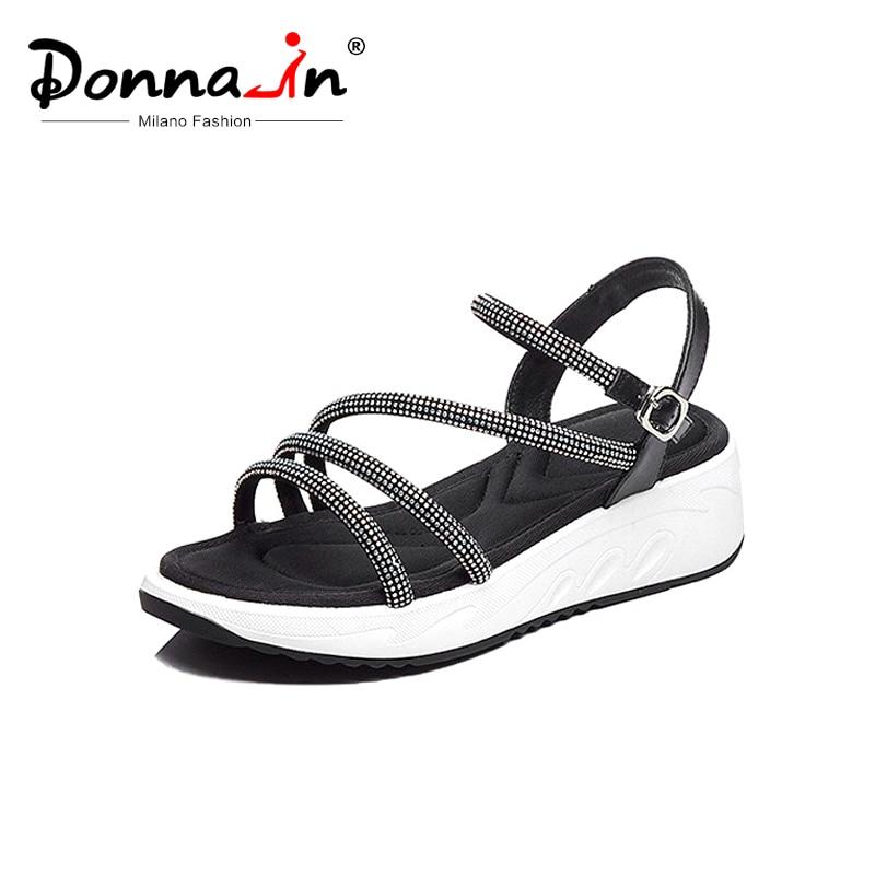 Donna in Roman Gladiator Sandals Women Genuine Leather Platform Wedge Shoes Women Sport Sandals Open Toe