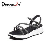 Donna-in Roman Gladiator Sandals Women Genuine Leather Platform Wedge Shoes Women Sport Sandals Open Toe Rhinestone Summer 2019