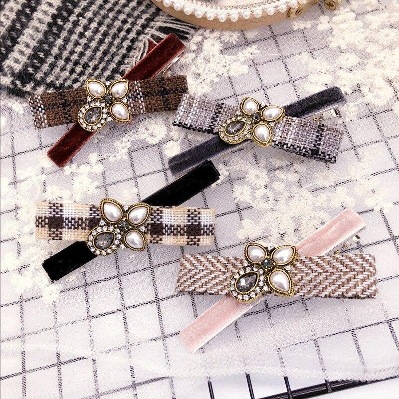Korea Cloth Flower Crown Hair Accessories For Girls Crystal Hair Bows Rim Pearl Hairpin Hair Clips For Women Barrette -4
