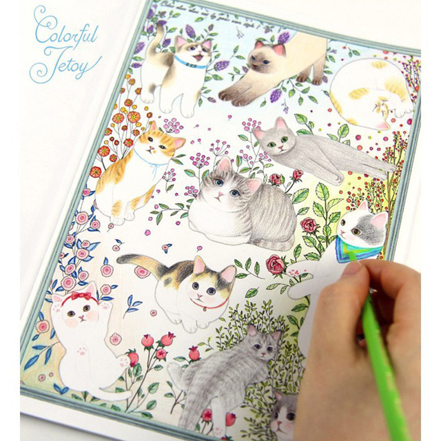 80pages(40sheets) cute cartoon cat coloring book for relieving stress kill time graffiti painting drawing book 80pages