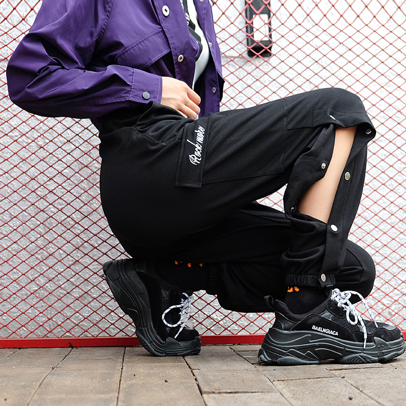 Women Hip Hop Black Track   Pants     Capris   Streetwear Cotton   Pants   Elasitc High Waist Trousers Female Buttons Split Side Pencil   Pant